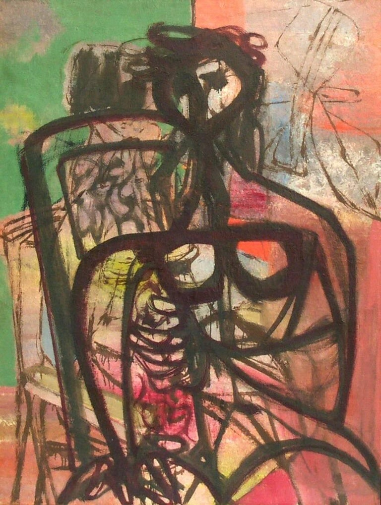 Figure by Jankel Adler (1895 - 1949)  Oil on canvas 110 x 85 cm (43 ¼ x 33 ½ inches) Executed 1940s  Artist biography: Jankel Adler was born in Lodz, Poland and lived a life of wandering. In 1912 he moved to Belgrade where he began training as an