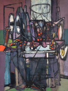 Woman with still life - Jankel Adler, polish, painting, modern art, abstract