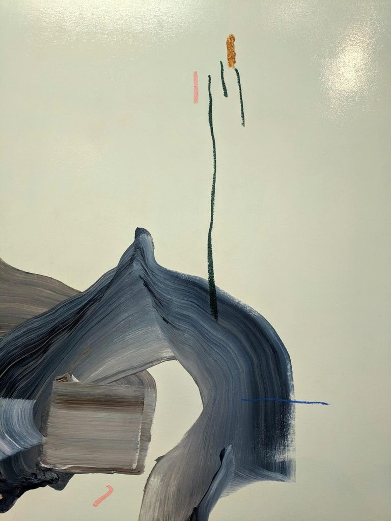Every Exit Is An Entrance, Abstract Painting with Blues and Grey on Mint Green For Sale 5