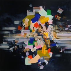 Falling Towards Myself, Large Square Multicolored Abstract Painting on Black