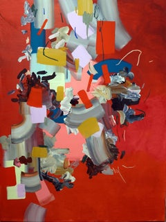 Five Voices Speaking At Once Family, Abstract Painting in Bright Red, Gold, Blue