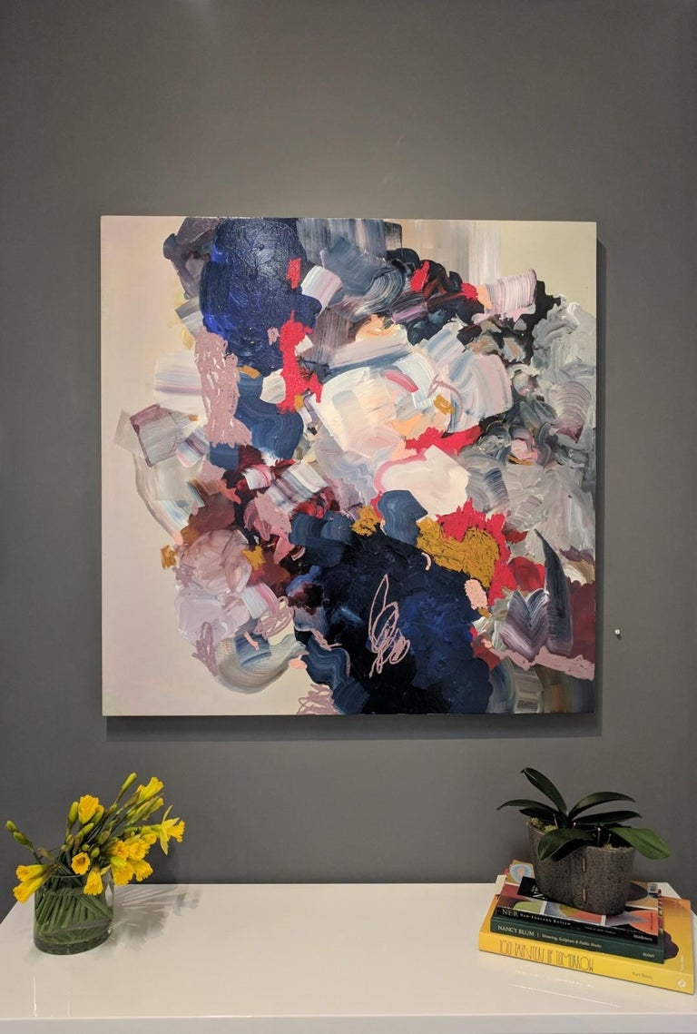 Heavy With Dreams, Square Abstract Painting with Pale Blush, Dark Blue and Red For Sale 1