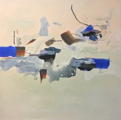 History Is Both Concrete And Indecipherable, Abstract Painting in Blush, Cobalt