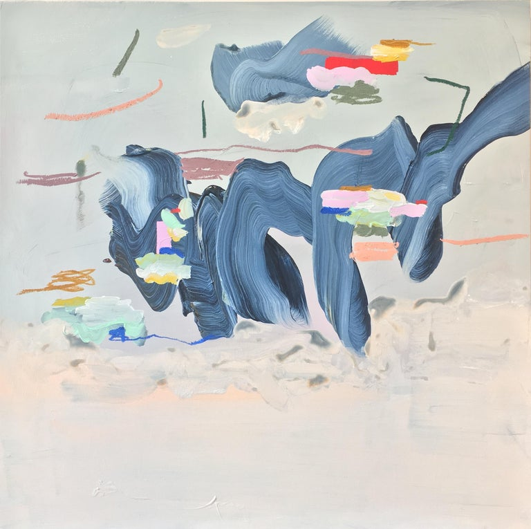 Magic Exists By Squiggling is a multicolored abstract painting set against a soft, pale blue and blush background. This is a striking painting full of movement by an emerging Canadian artist. The painting is on a birch panel and can be installed in