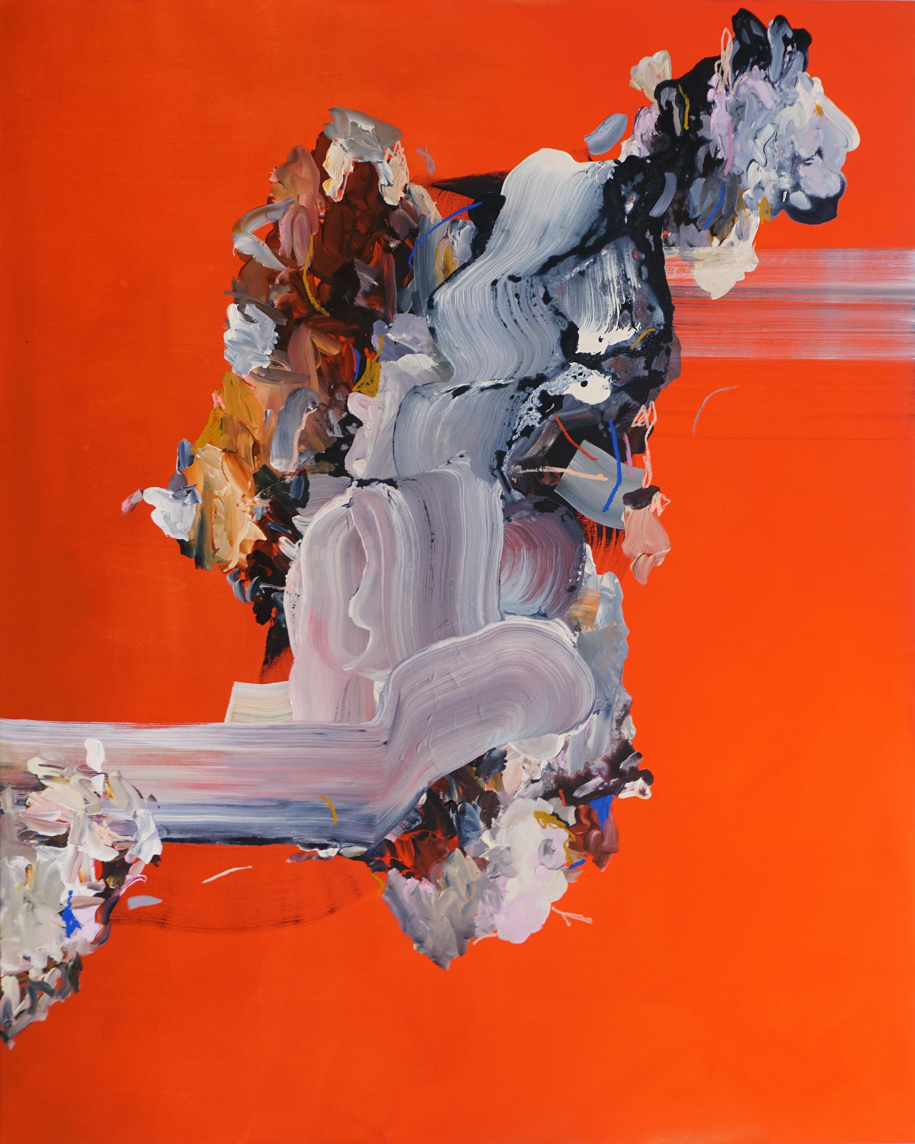 The Spot that Flows at its Centre, Multicolored Abstract Painting on Bright Red
