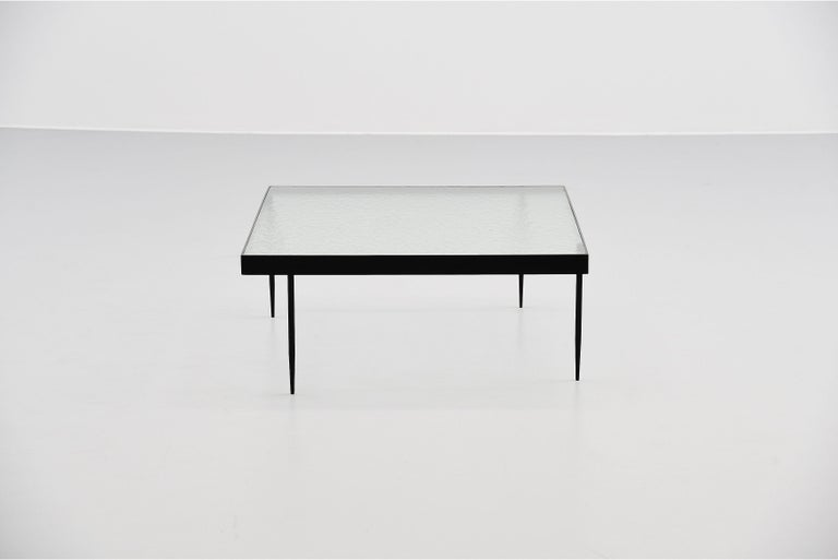 Nice Minimalist coffee table model G4A designed by Janni Van Pelt and manufactured in the Bas Van Pelt workshop in the Netherlands, 1958. The table has a black painted metal frame, this is a rare square version in original condition, with original
