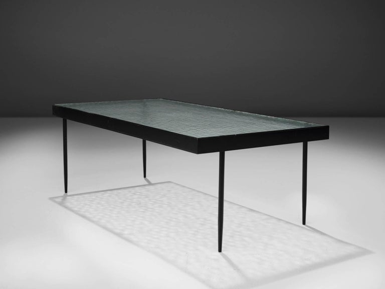 Mid-Century Modern Janni Van Pelt Coffee Table in Metal and Glass For Sale