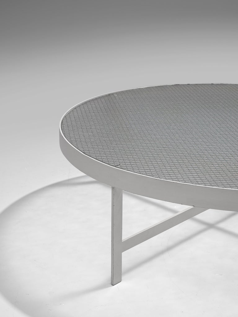 Mid-Century Modern Janni Van Pelt Round Coffee Table in White Metal and Glass For Sale