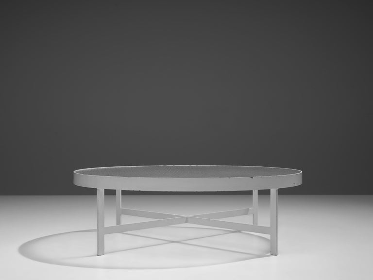 Mid-20th Century Janni Van Pelt Round Coffee Table in White Metal and Glass For Sale