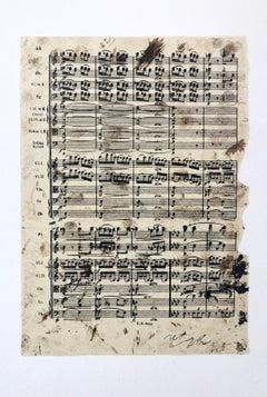 Elettra, Music Score Lithograph Jannis Kounellis Arte Povera Italian Avant Garde