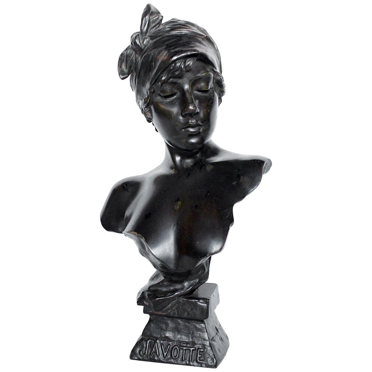 'Janotte' Emmanuel Villanis Art Nouveau Bronze Bust, French, 1890