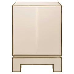 Jansen 2 Door Cabinet in Ivory Lacquer with Brass Trim 1975 'Signed'