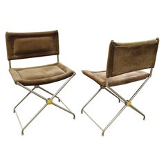 Jansen Attributed Pair of Chic Side Chairs in Suede Upholstery, 1970s