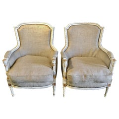 Jansen Bergère / Armchairs, Parcel-Gilt and Paint Decorated Louis XVI Style