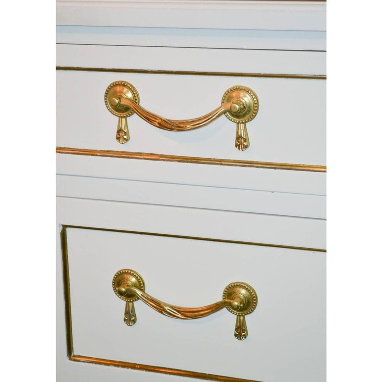 French Jansen Directoire Style White Lacquered Tall Chest For Sale