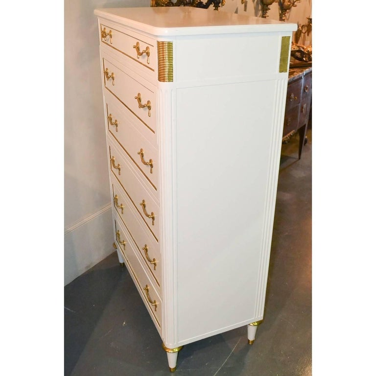 Mid-20th Century Jansen Directoire Style White Lacquered Tall Chest For Sale