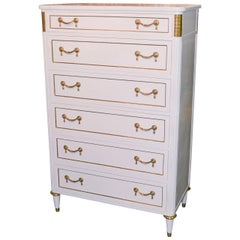 Jansen Directoire Style White Lacquered Tall Chest