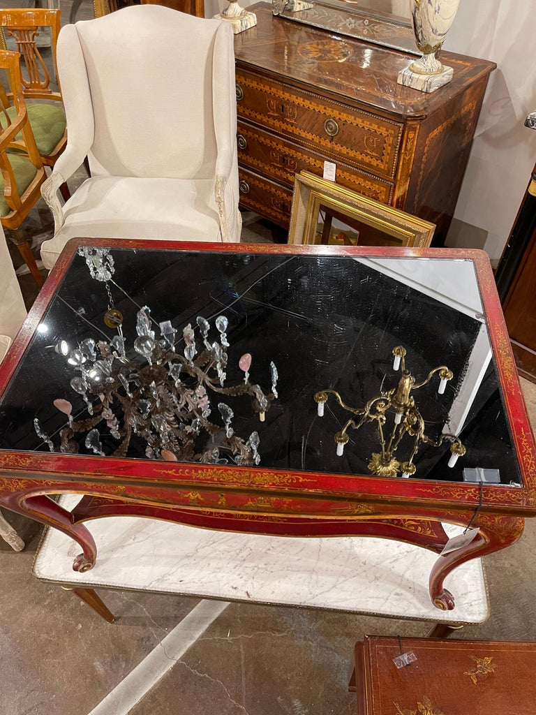 Jansen Hand-Painted Chinoiserie Coffee Table In Good Condition For Sale In Dallas, TX