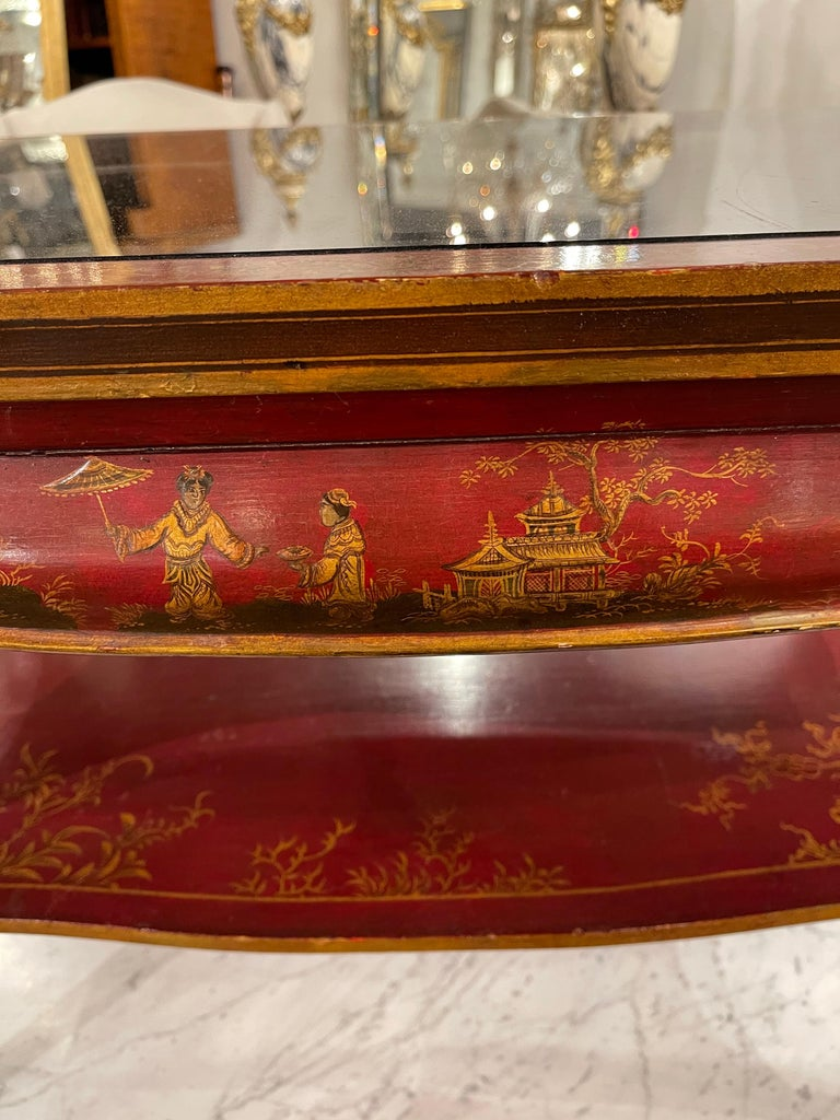 Mid-20th Century Jansen Hand-Painted Chinoiserie Coffee Table For Sale