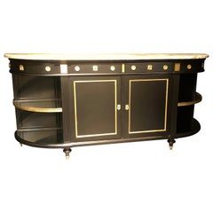 Jansen Hollywood Regency Sideboard, Console, Ebony w Marble Top and Bronze Deco