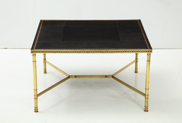 French Jansen Leather Coffee Table For Sale