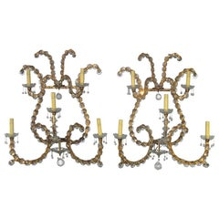 Jansen Pair of Oversized Gilt Iron and Crystal Sconces/ Wall Lights