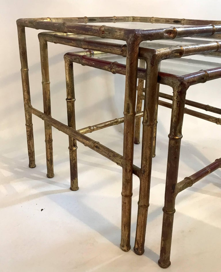 Italian Gold Gilt Iron And Glass Faux Bamboo Metal Square: Jansen Set Of Three Faux Bamboo Gilt Metal Nesting