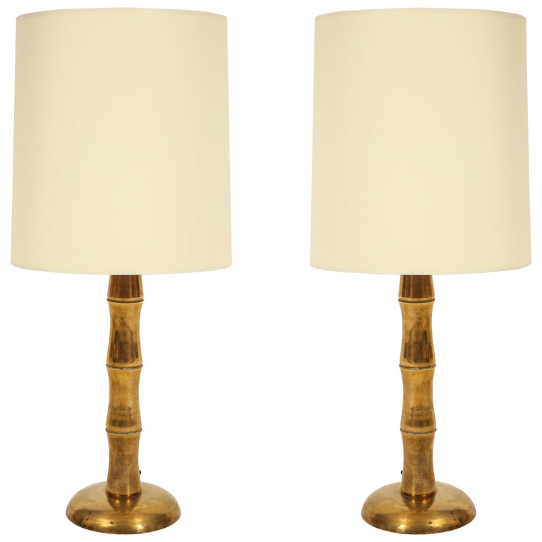 Jansen Style Bamboo Brass French Midcentury Pair of Table Lamps For Sale