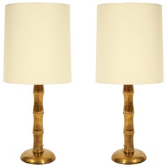 Jansen Style Bamboo Brass French Midcentury Pair of Table Lamps