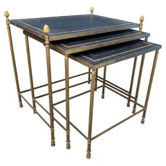 Jansen Style Brass and Leather Nest of Three Tables