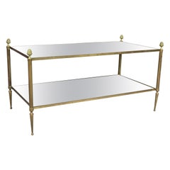 Jansen Style Brass and Mirrored Coffee Table