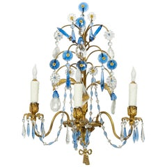 Jansen Style Bronze Sconces with Cornflower Blue and Clear Crystals