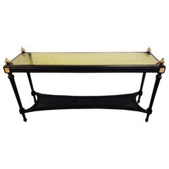 Jansen Style Console Table Louis XVI Hollywood Regency Ebony and Gilt Decorated