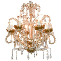 Jansen Style Gilt Metal and Crystal Chandelier
