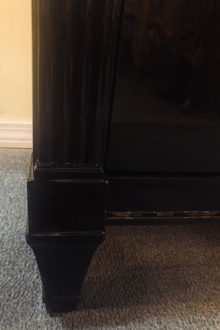 Pair of Jansen Style Hollywood Regency Ebony Commodes, Chests or Nightstands 11