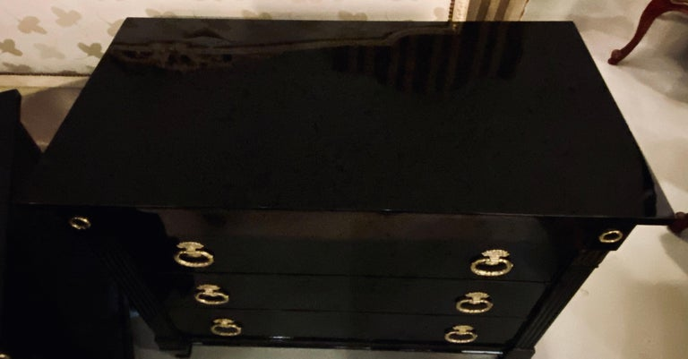 Pair of Jansen Style Hollywood Regency Ebony Commodes, Chests or Nightstands 13