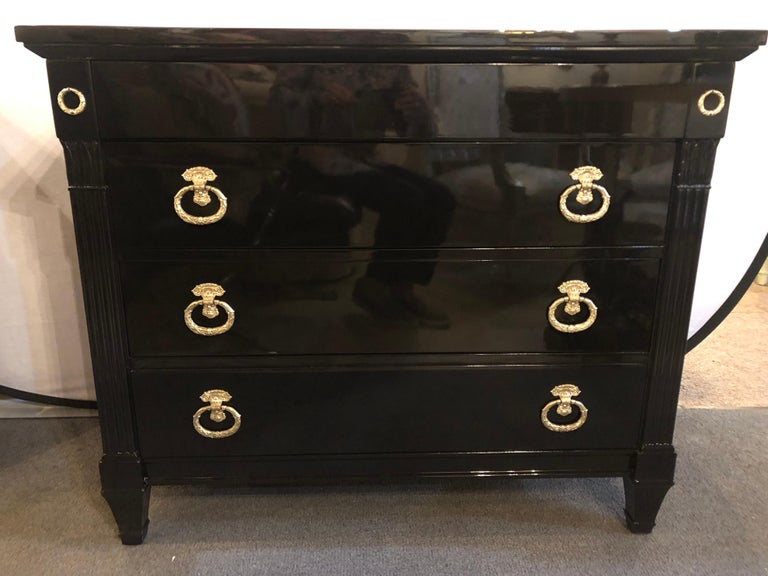 Pair of Jansen Style Hollywood Regency Ebony Commodes, Chests or Nightstands In Good Condition In Stamford, CT