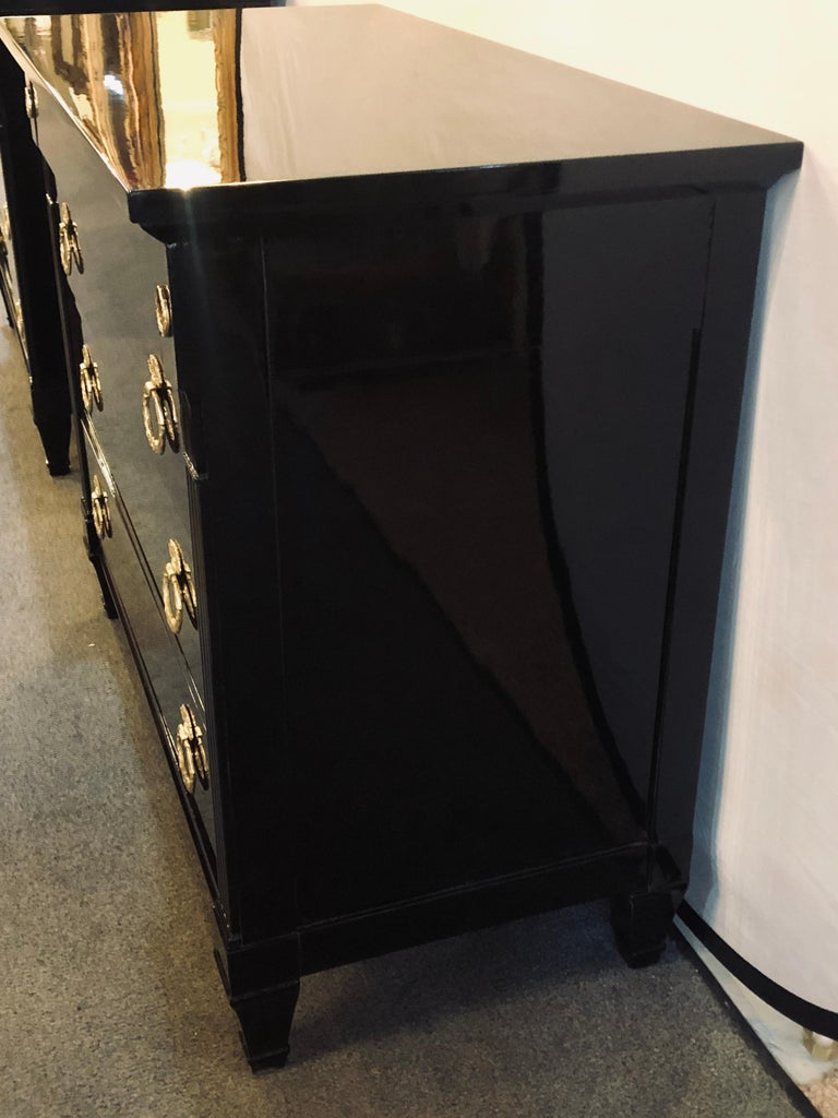 Pair of Jansen Style Hollywood Regency Ebony Commodes, Chests or Nightstands 1