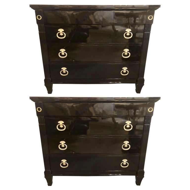 Pair of Jansen Style Hollywood Regency Ebony Commodes, Chests or Nightstands