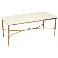 Jansen Style Marble and Gilt Metal Coffee Table, 1960s