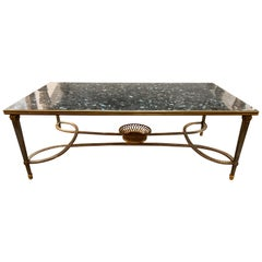 Jansen Style Midcentury Polished Steel and Bronze Low Table