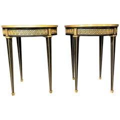 Jansen Style Pair of Bouliotte / End Tables Bronze Mounted