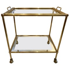 Jansen Style Two-Tiered Brass Bar Cart with Mirror Trim