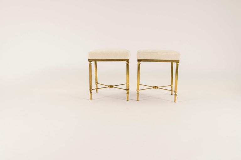 Jansen Style Vintage Neoclassical Brass Tabouret In Good Condition For Sale In Houston, TX