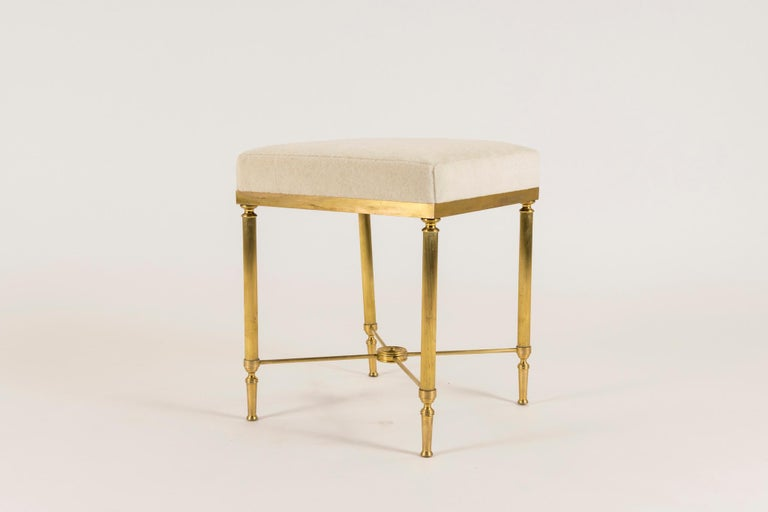 20th Century Jansen Style Vintage Neoclassical Brass Tabouret For Sale