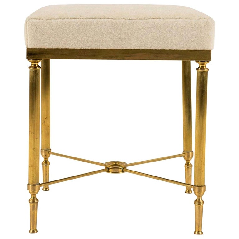 Jansen Style Vintage Neoclassical Brass Tabouret For Sale