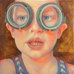 Diving Glasses I- 21st Century Contemporary Portrait Painting of a Boy