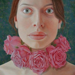 Queen of Roses- 21st Century Contemporary Portrait 'Girl with necklace of Roses'