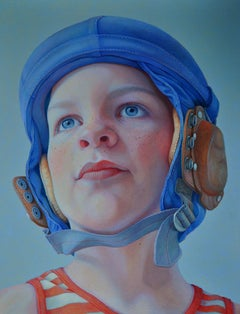 Little Hero- 21st Century Contemporary Portrait of a Young Boy with Pilote Cap.