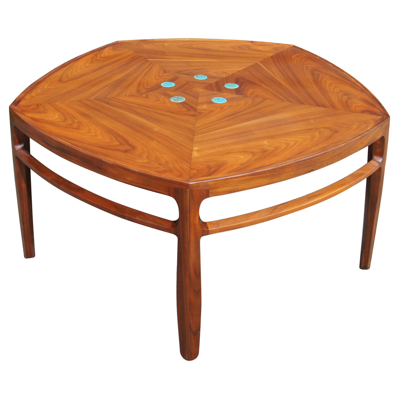 Pentagonal Janus Coffee Table with Natzler Tiles by Edward Wormley for Dunbar
